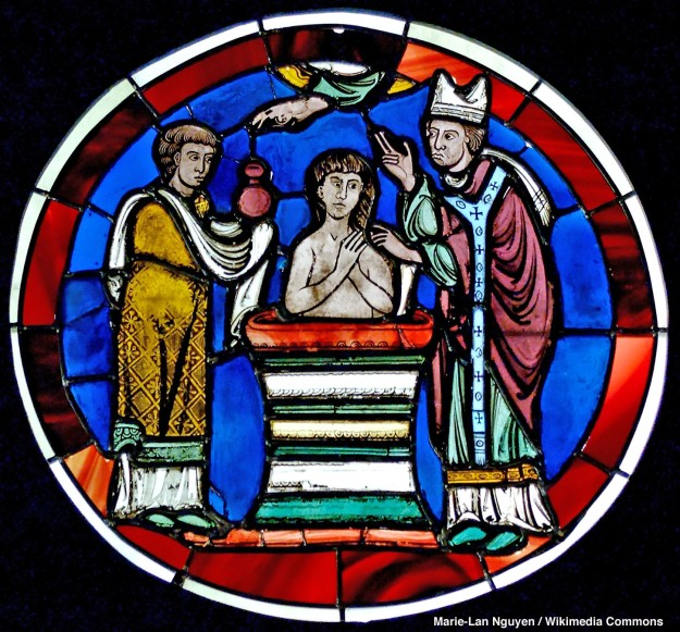 Scene of Baptism Stained glass Last quarter of the 12th century. From the Sainte-Chapelle de Paris Paris, France