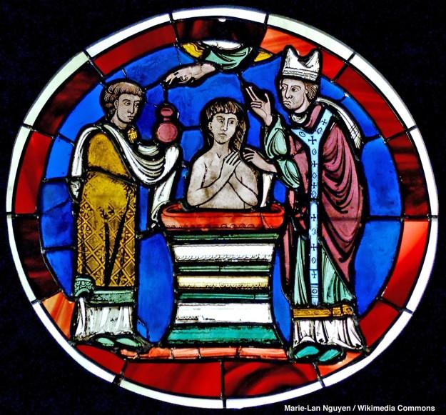 Scene of Baptism Stained glass Last quarter of the 12th century. From the Sainte-Chapelle de Paris Paris, France
