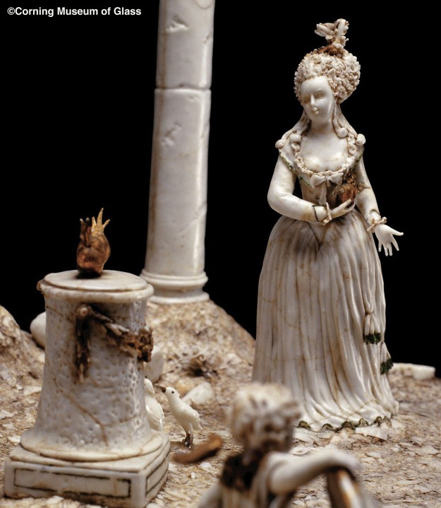 """""""Marie Antoinette Sacrifices the Heart of the Nobility on the Alter of the French Republic"""" Pierre Haly, lampworked glass Nevers, France 1790"""