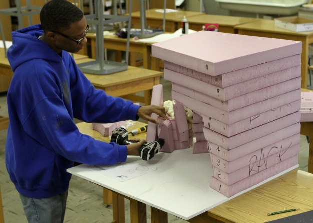 Planks of foam were sculpted and then glued together to make the Sea Cave.