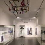 Exploring artwork on display in the gallery where pieces from the Museum of Glass collection are now located.
