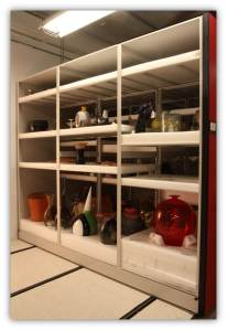 Museum of Glass' Permanent Collection is safely stored—each with a customized nest in the compact foam-lined shelves.