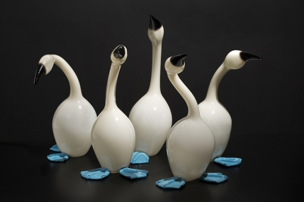 Erich Woll (American, born 1970) Mistakes Will be Made (blue-footed Boobies), 2014 Hot-sculpted glass Collection of Museum of Glass, gift of the artist