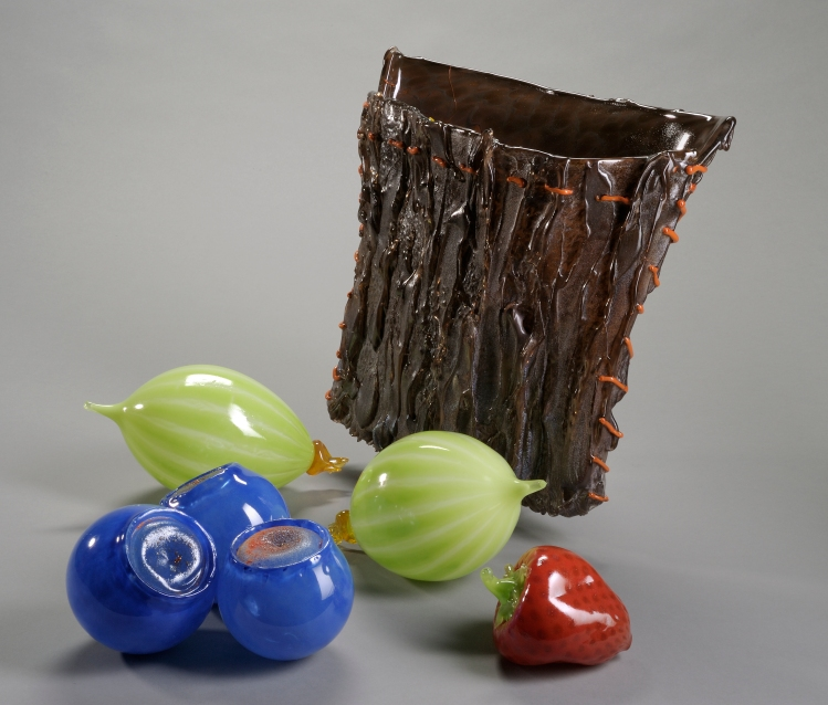 Corwin N. Clairmont (Member of the Confederated Salish and Kootenai Indian Tribes, born 1946); Traditional Cedar Bark Berry Basket, 2009; Blown and hot-sculpted glass; Dimensions vary; Collection of Museum of Glass, Tacoma, Washington, gift of the artist.