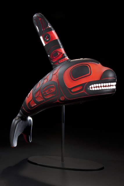 Preston Singletary (American Tlingit, born 1963); Killer Whale, 2009; Blown and sandcarved glass; 25 x 16 x 7 inches; Made at Museum of Glass, Tacoma, Washington, gift of the artist.