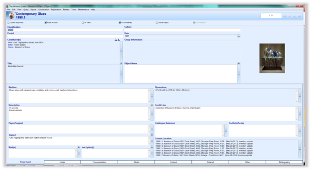 Screen shot from MOG's The Museum System database.