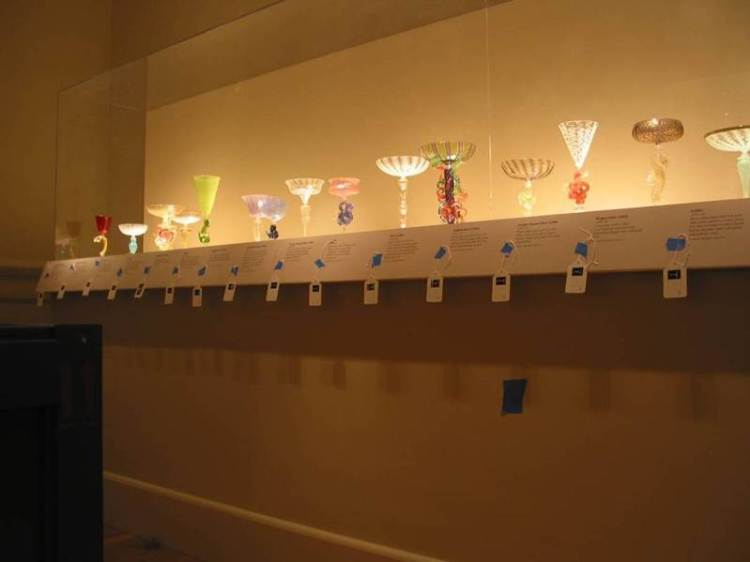 Goblets from the traveling exhibition Lino Tagliapietra in Retrospect: A Modern Renaissance in Italian Glass are tagged for inventory control prior to deinstallation at the Renwick Gallery in Washington, D.C., 2008. This ensures that each piece is packed in the correct box and tracked as it is shipped to the next venue.