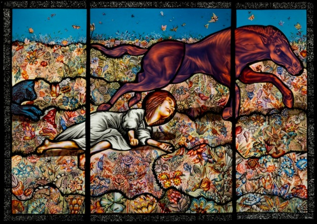 Judith Schaechter; Horse Accident, 2015; Stained glass, cut, sandblasted, engraved, painted, stained and fired, cold paint and assembled with copper foil; 33 x 45 inches; Photo by Dom Episcopo.