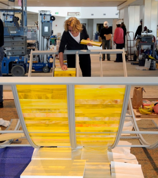 Ann Gardner working on the Long Day/Long Night installation for the Fairbanks International Airport, Alaska.