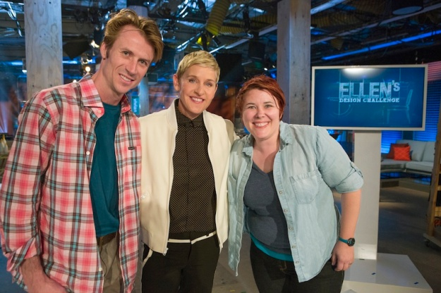 """Season winning designer Vivian Beers (right) and finalist Sef Pinney (left) with Ellen (center), as seen on Ellen's Design Challenge. Ellen DeGeneres puts eight furniture designers to the test when they come to Los Angeles to compete in various challenges designing and building amazing furniture creations. With a workshop, a lead carpenter and all the tools they'll need, the contestants will be tasked with a new build each episode. A panel of expert judges along with appearances by Ellen will eliminate them one by one until one designer is left standing to take home the cash prize and win """"Ellen's Design Challenge."""""""