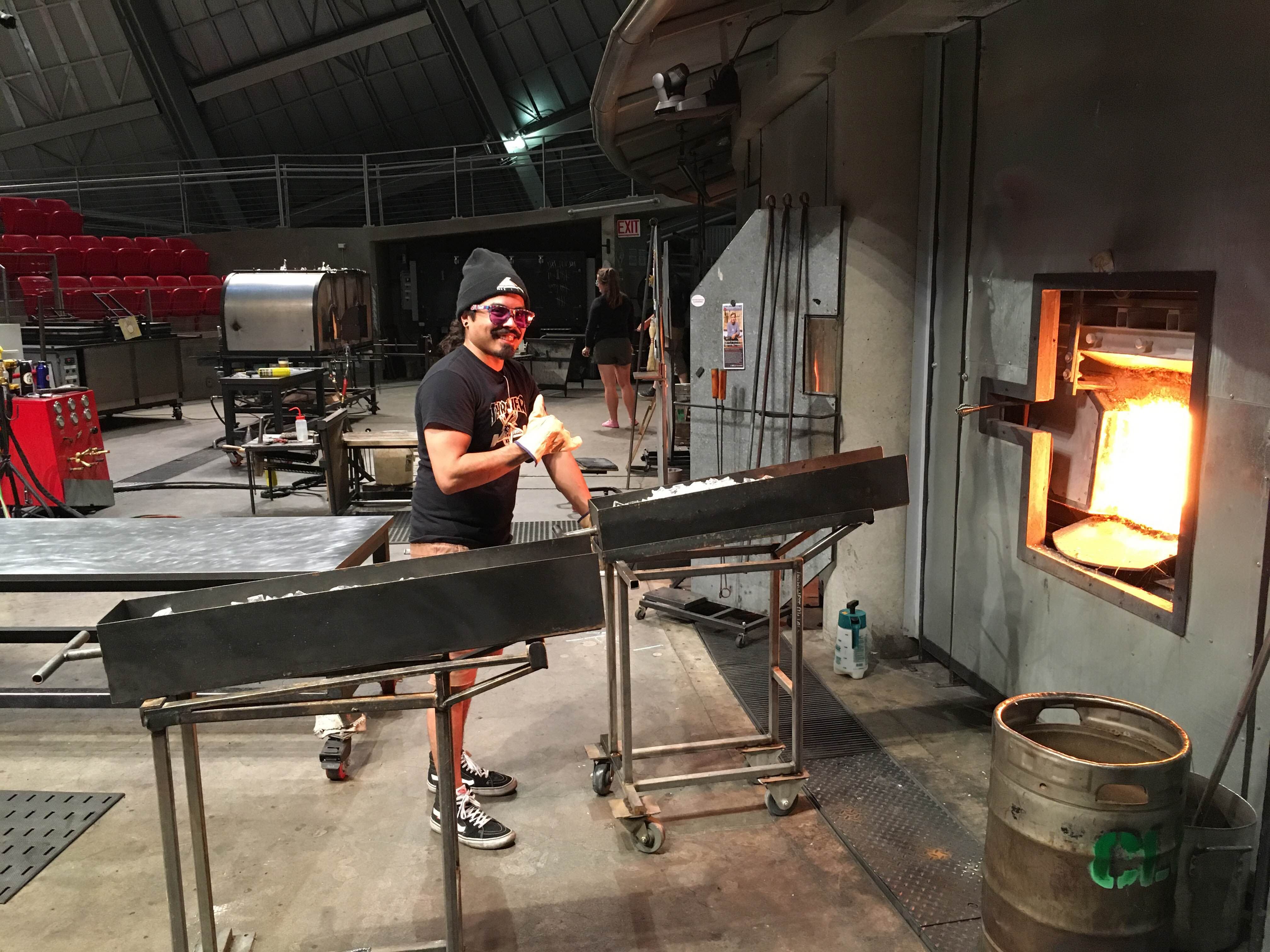 care and feeding of the glass furnace as the pipe turns