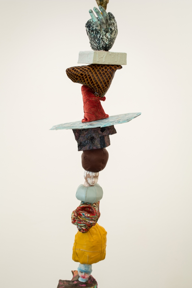Claire Cowie; Cairn No. 1 (detail), 2013; Wood, leather, paper, ink, mixed media; 84 x 22 x 14 inches; Image courtesy of the artist.
