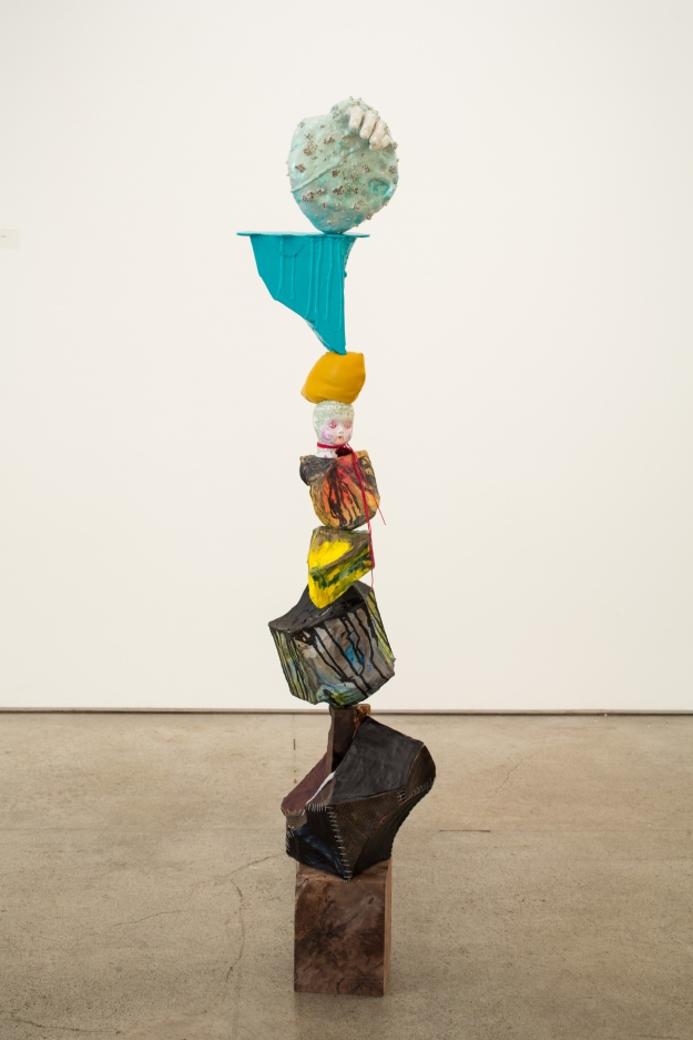 Claire Cowie; Cairn No. 2, 2013; Wood, leather, paper, ink, mixed media; 56 x 14 x 14 inches; Image courtesy of the artist.
