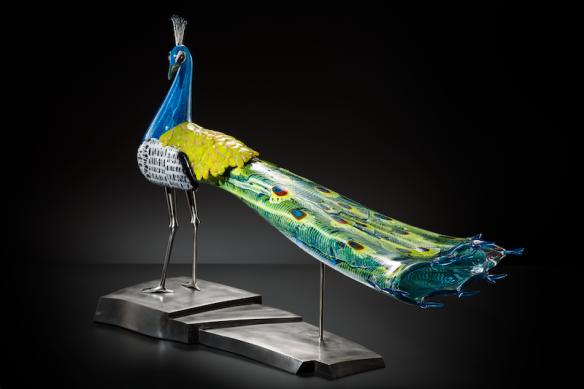 Karen Willenbrink-Johnsen; Peacock, 2015; Blown glass and steel; 26 x 35 x 16 inches; Photo by KP Studio.
