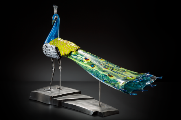 Karen Willenbrink-Johnsen; Peacock, 2015; Blown glass and steel; 26 x 35 x 16 inches; Photo by KP Studio.