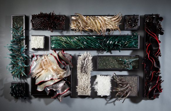 Shayna Leib (Americna, born 1975). Two Seas, 2012. Glass, silver leaf and resin; Courtesy of the artist. Photo by Eric Tadsen.