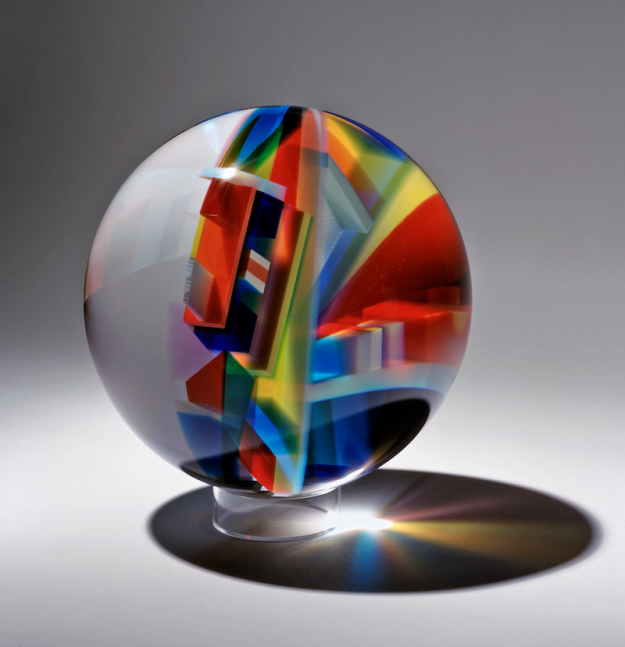 David Huchthausen (American, born 1951). Sphere 3, 2010. Cut, laminated, and optically polished glass. 12 inches. Collection of the artist. Photo by Lloyd Shugart.