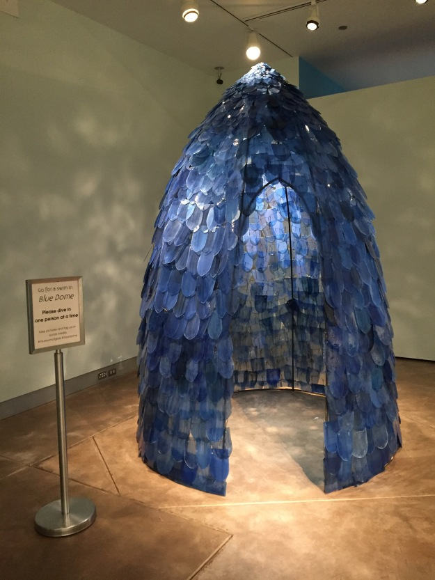 Kait Rhoads (American, born 1995). Blue Dome, 1995. Single-strength plate glass, cut, drilled and fired with glass enamels; Courtesy of the artist.